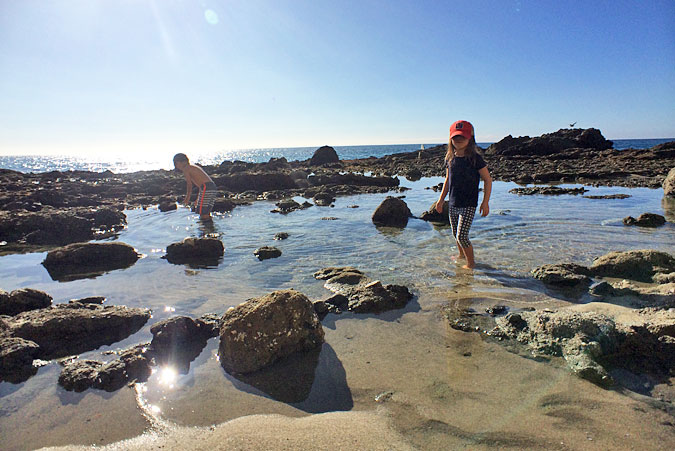 Kids exploring tide pools, Victoria Beach