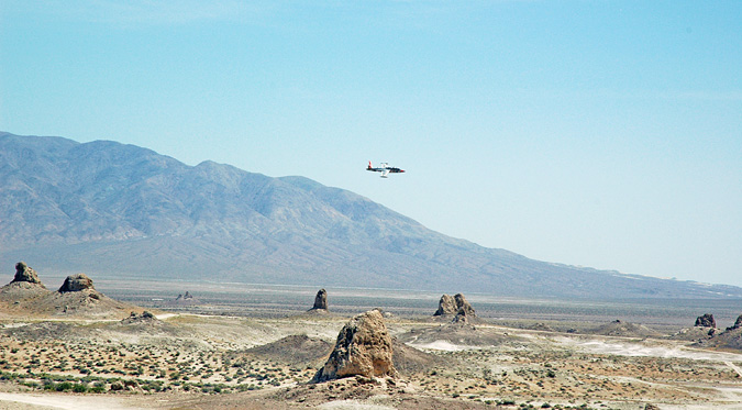 Test pilots from the nearby Airforce base flying low through Trona Pinnacles