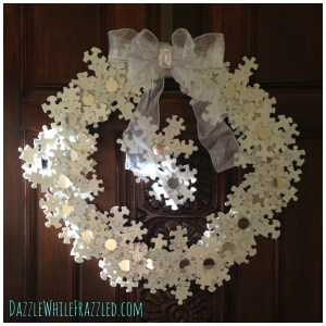 Use puzzle pieces to create a snowflake wreath