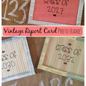 Turn old report cards into photo frames