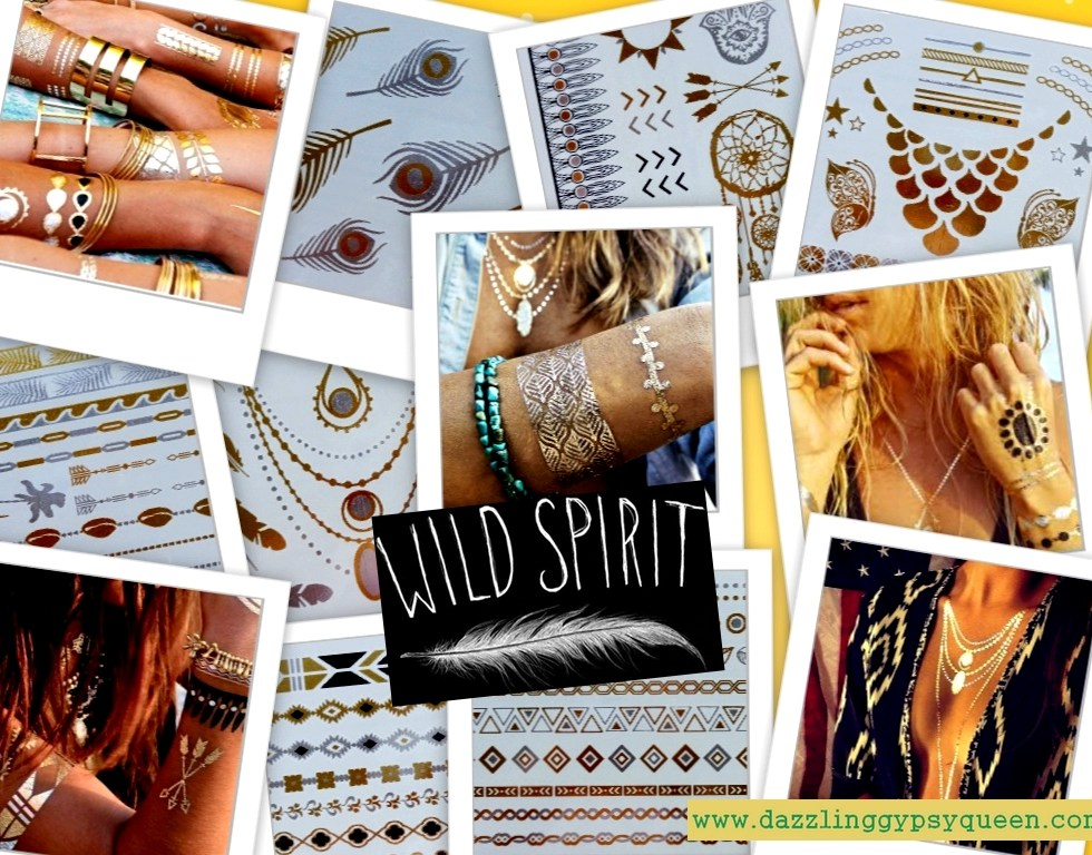 Flash tattoo - gold - silver - black - metallic - Dazzling Gypsy Queen