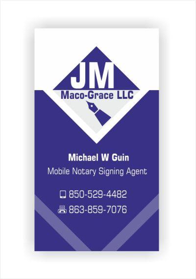 Bold, Serious, Travel Business Card Design for JM Maco-Grace LLC by IneseRo | Design #5407634