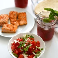 Chili-Lime Seasoned Salmon Tacos with Watermelon-Feta Salsa
