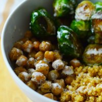 Brussels Sprouts + Roasted Chickpeas Fall Buddha Bowl