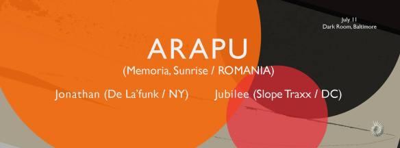 ARAPU (ROMANIA) / Jonathan (NY) / Jubilee (DC) at The Dark Room, Baltimore
