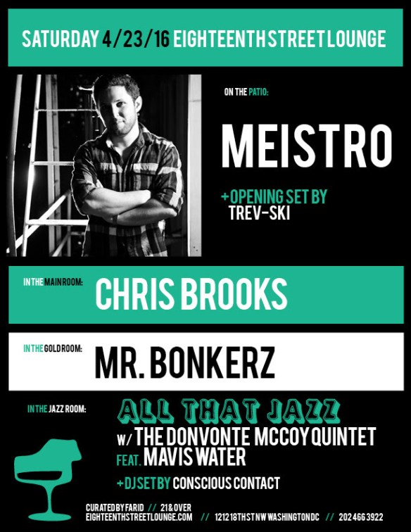 ESL Saturday with Meistro, Trev-ski, Chris Brooks, Mr. Bonkerz and Conscious Contact at Eighteenth Street Lounge