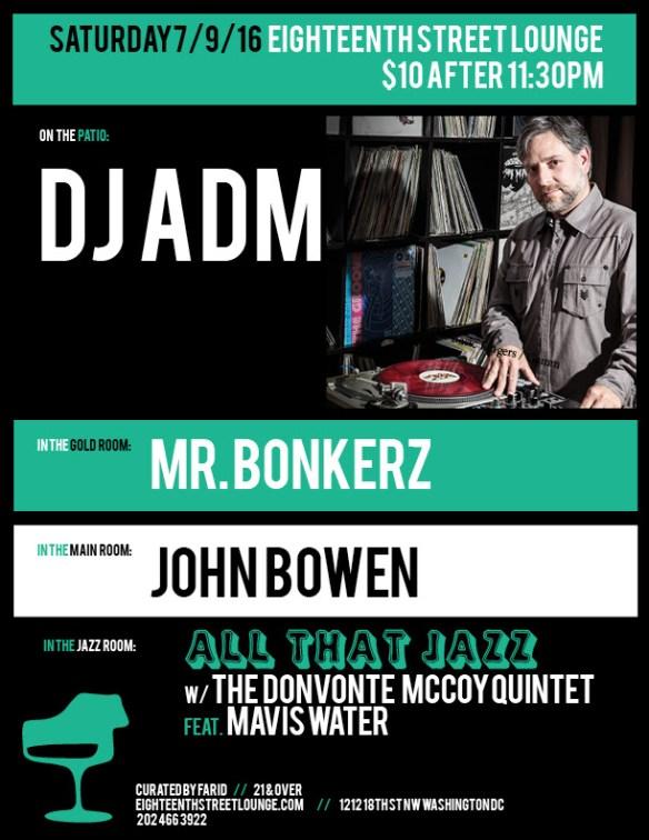 ESL Saturday with DJ ADM, Mr Bonkerz & John Bowen at Eighteenth Street Lounge