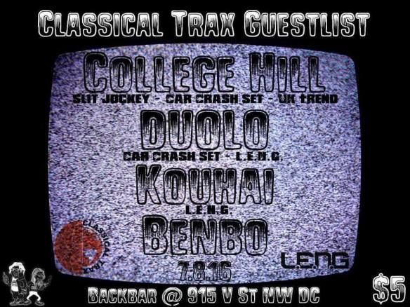 Classical Trax x Guestlist x LENG: Locals Only with College Hill, Duolo, Houhai and Benbo at Backbar