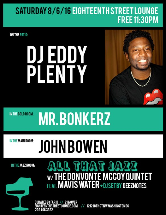 ESL Saturday with DJ Eddy Plenty, Mr Bonkerz & John Bowen at Eighteenth Street Lounge