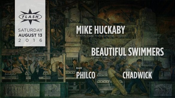 Mike Huckaby, Beautiful Swimmers at Flash, with Philco b2b Wave Age in the Flash Bar