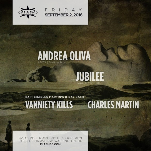 Andrea Oliva, Jubilee at Flash, with Charles Martin's Bday Bash in the Flash Bar