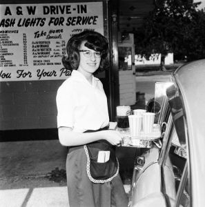 A&W car hop, 1964 - photo by vintagegal on Tumblr
