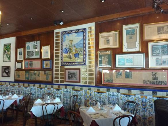 some of the press on Columbia restaurant is displayed in the original cafe dining room - photo by Dean Curtis, 2016