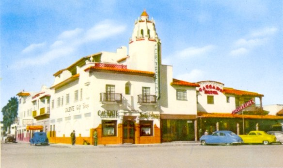 Hotel Caesar's and Caesar's Cafe, 1940s - postcard image by Peter Moruzzi