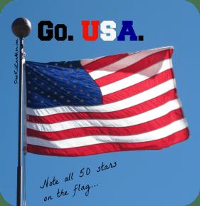 US flag with all 50 stars. Go USA DearKidLoveMom.com
