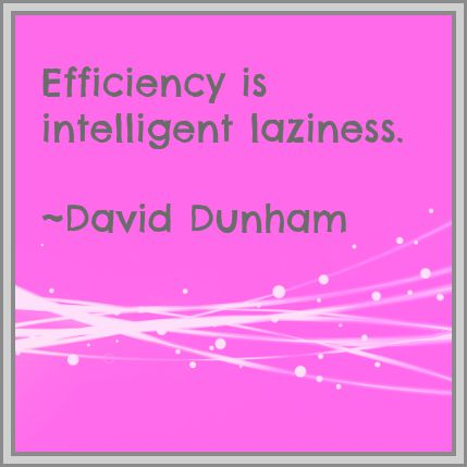 Efficiency is intelligent laziness. David Dunham. DearKidLoveMom.com