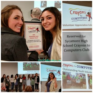 Congratulations to the Sycamore High School Crayons to Computers Club for being recognized as Outstanding Youth Volunteers! DearKidLoveMom.com