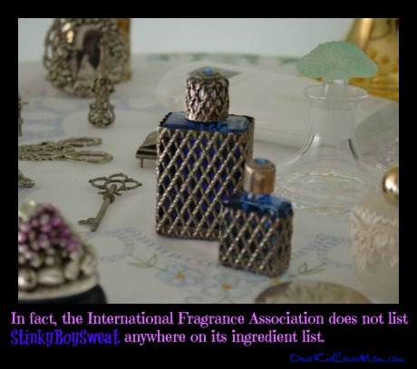 the IFRA (the International Fragrance Association – really there is such a thing) does not list StinkyBoySweat on its ingredient list. Take a shower. DearKidLoveMom.com