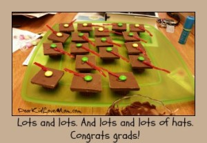 Chocolate Mortar Boards. Eat and Enjoy. Happy Graduation! DearKidLoveMom.com