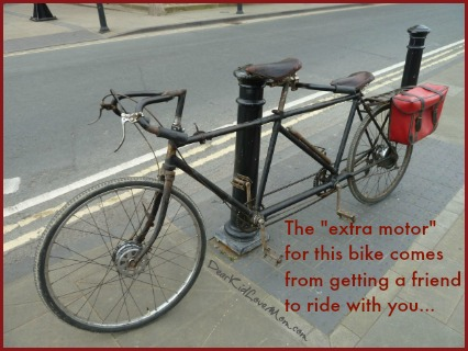 "The ""extra motor"" doesn't come from motorized doping but from get a friend to ride the bike with you. Bicycle built for two. DearKidLoveMom.com"