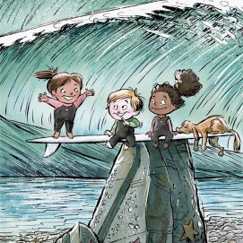 Mike_Deas_Illustration_Kids on SurfBoard