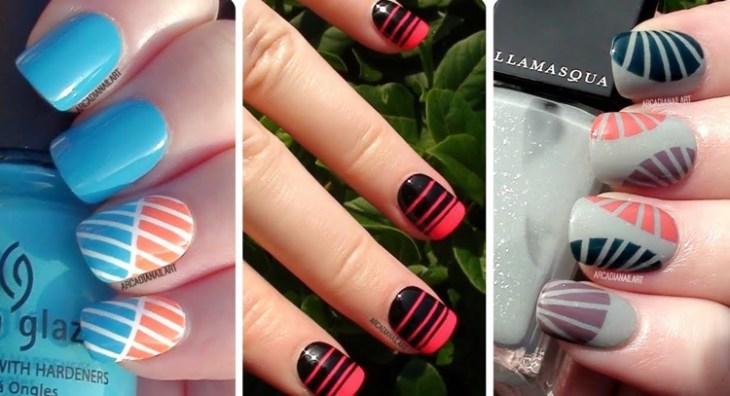 déco ongles avec bandes de striping tape idées motifs couleurs