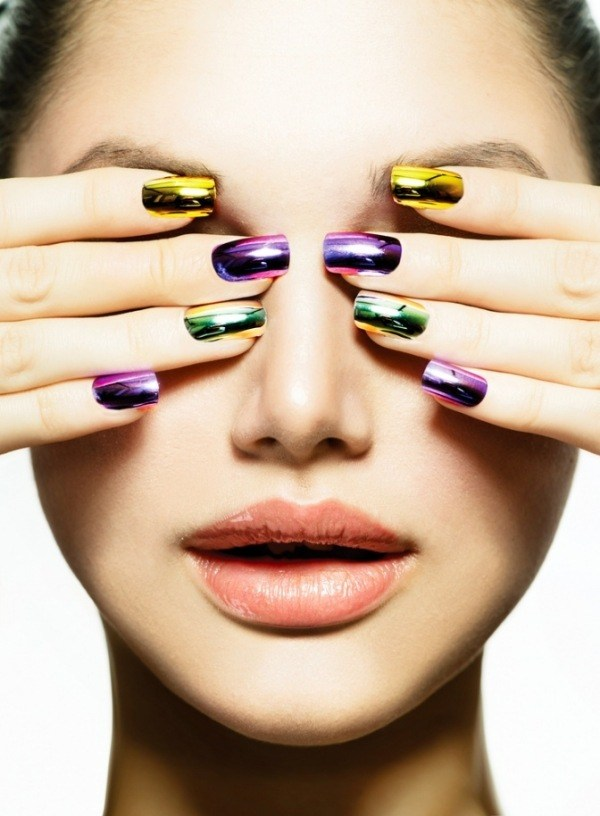 ongles-nail art tendance 2015 effet métallque