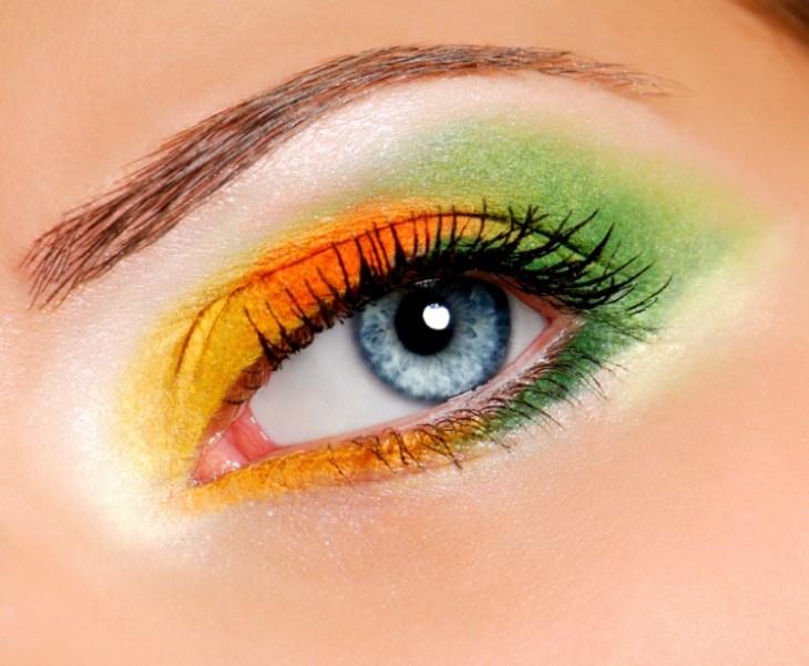 maquillage-yeux-idee-ete-ombres-orange-vert-jaune-mascara