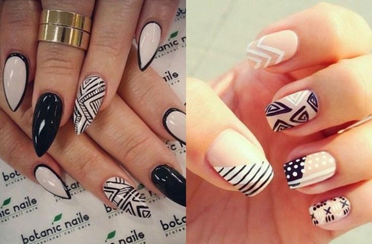 nail-art-motif-azteque-stiletto-couleur-noir-blanc-beige