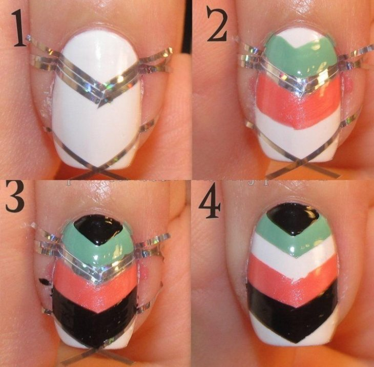 nail-art-motif-azteque-striping-tape-argente-couleur-blanche-orange-vert-menthe