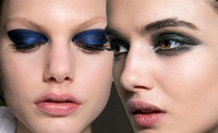 maquillage de soirée 2015-tendances-fard-paupieres-bleu-cobalt-vert-olive-rouge-levres-rose-pale