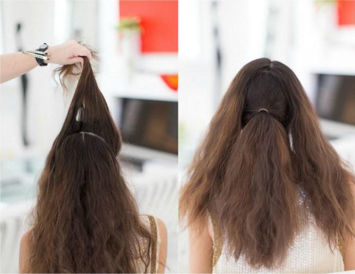 coiffure pour nouvel an separer-cheveux-sections-queue-cheval