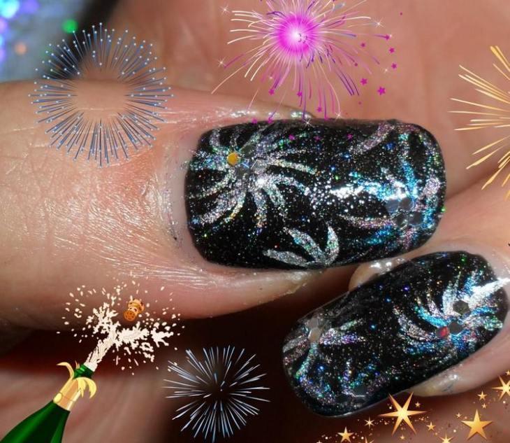 tuto nail art –nouvel-an-vernis-ongles-noir-motif-feux-artifice