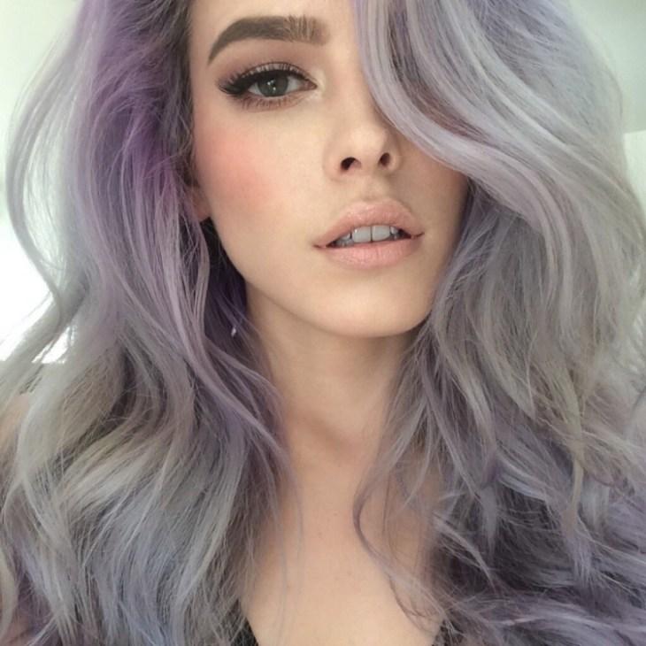 cheveux gris lilas pastel mèches nuancées- mode 2016 fashion
