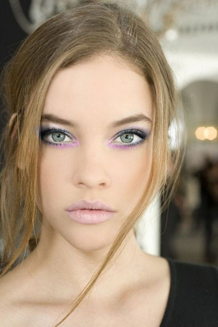 maquillage Saint-Valentin -romantique-rouge-levres-rose-pale-fard-paupieres-rose-bleu