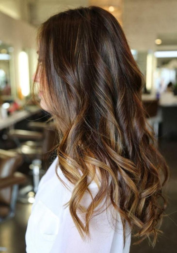 cheveux couleur caramel -balayage-base-marron-mèches-blondes