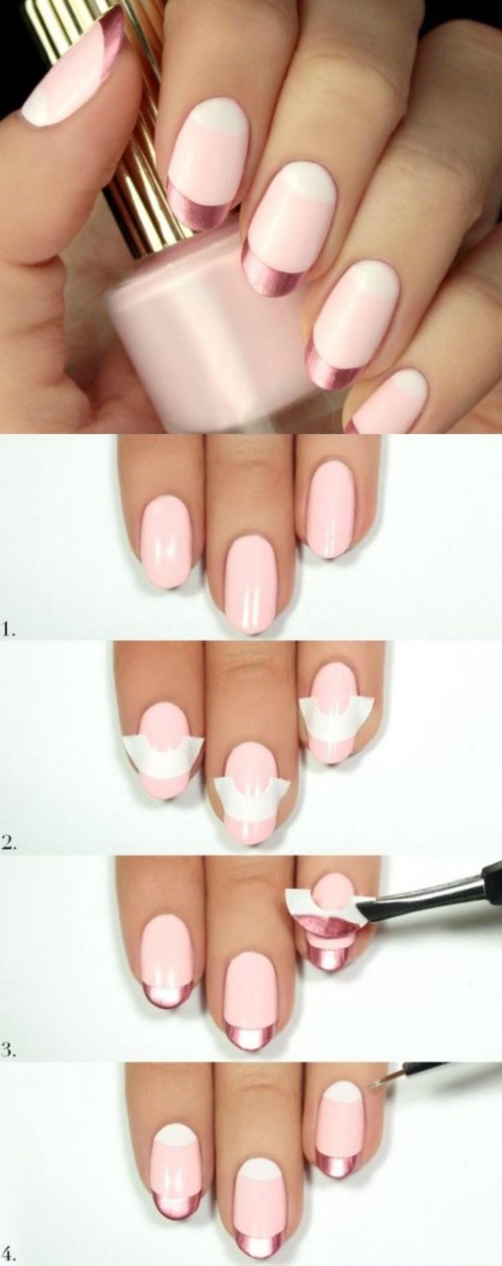 manucure-rose-pastel-lunules-blanches-pointes-métalliques