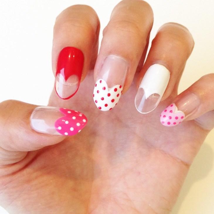 manucure-rose-rouge-blanc-coeurs-pois-idées-nail-art