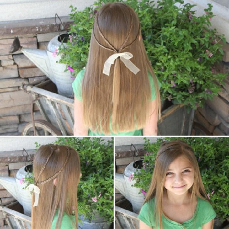 coiffure pour petite fille -cheveu-longs-lisses-tresses-fines-noeud