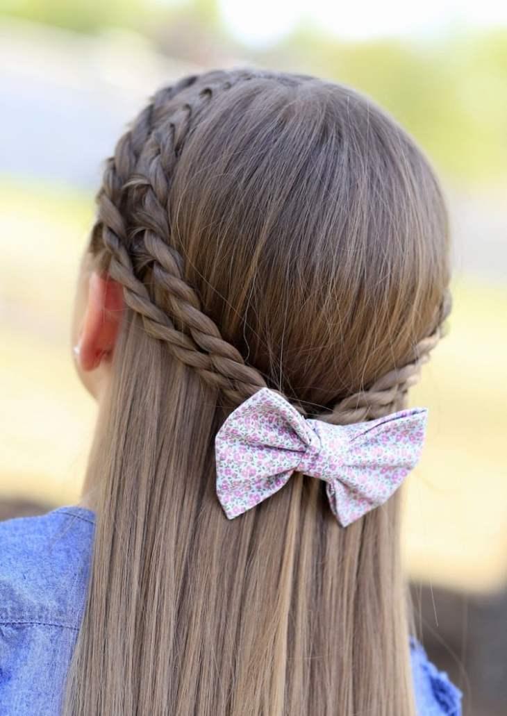 coiffure pour petite fille -tresses-torsadées-épingle-cheveux-noeud