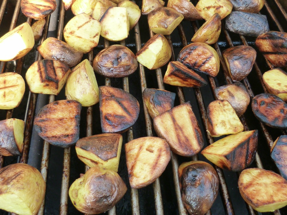 Potatoes grilling for salad.