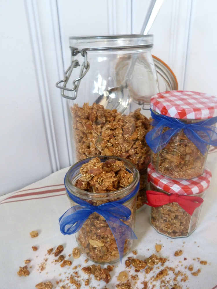 Filling Granola into gift jars for the holidays.