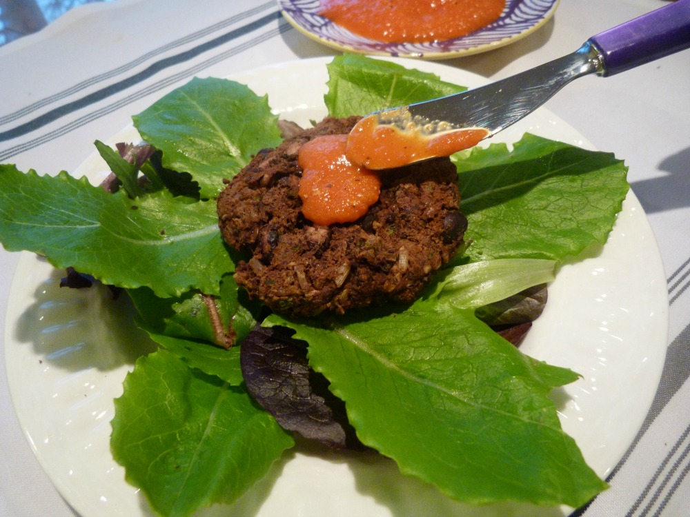 Veggie Burger with Roasted Red Pepper Sauce