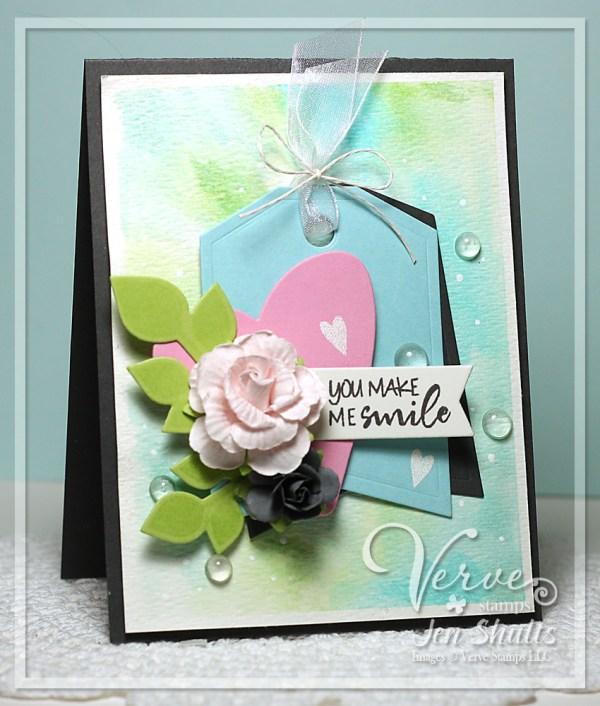 You Make Me Smile by Jen Shults, handmade card #7daysoflove