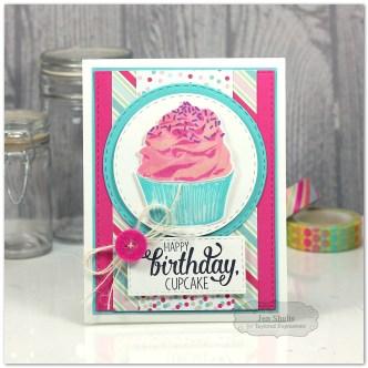 Happy Birthday Cupcake, handmade card by Jen Shults
