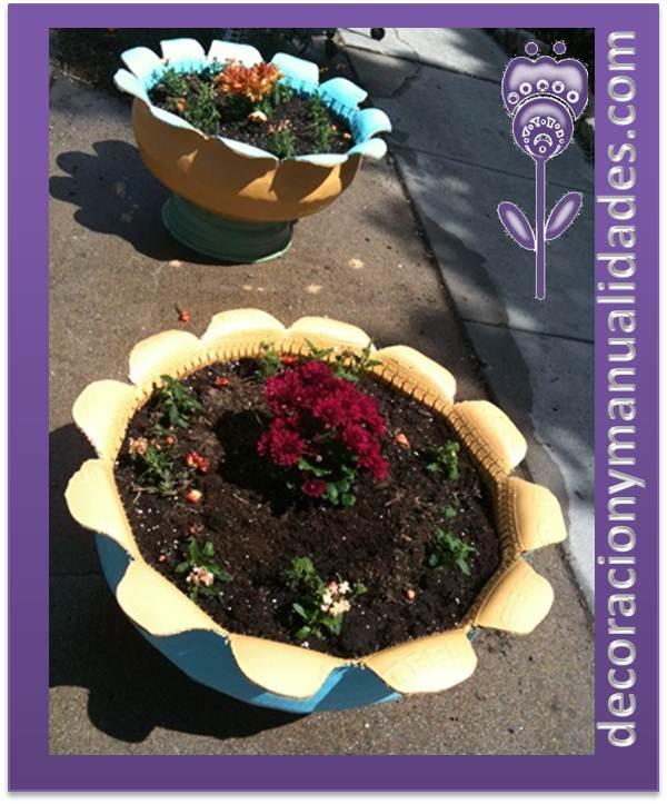 Macetas con llantas related keywords macetas con llantas for Como decorar un jardin con macetas