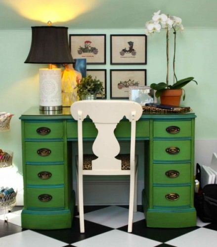 playingsubmlimely desk was painted in Antibes Green the trim and accents in Provence then one coat of Annie Sloans dark brown wax