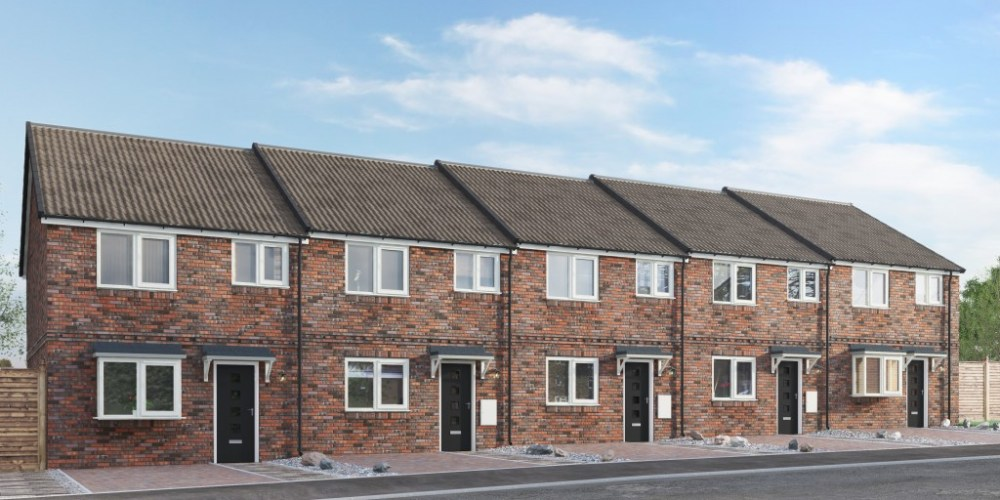 CGI of 5 Town Houses in Morley, now for sale.