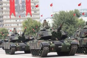Turkish army tanks take part in a parade marking the 91st anniversary of Victory Day in Ankara in August. Turkey's defense budget will see a 6.71 percent increase in 2014. (Adem Altan/AFP via Getty Images)