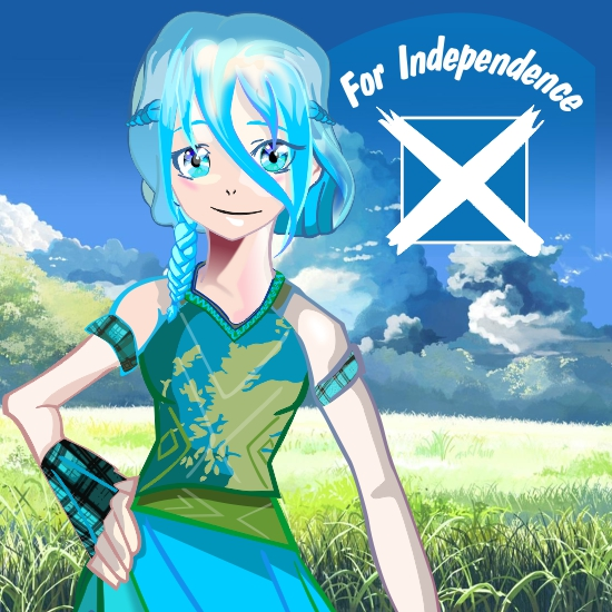 Young Woman for Independence (cartoon version) drawing on Corel Draw